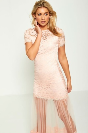Pink Floral Lace Sheer Panel Maxi Dress