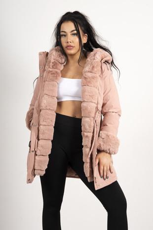 Pink Faux Fur Trim Hooded Coat
