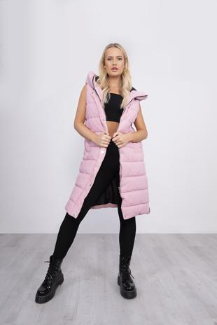 Baby Pink Longline Hooded Puffer Gilet