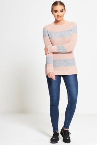 Pink Glitter Crew Neck Knitted Jumper