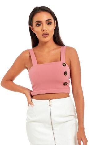 Pink Horn Button Detail Bralet Top