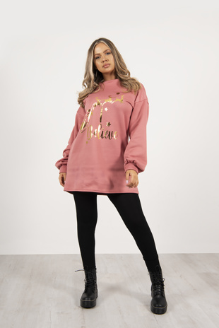 Dusty Pink Metallic Believe Slogan Christmas Oversized Jumper