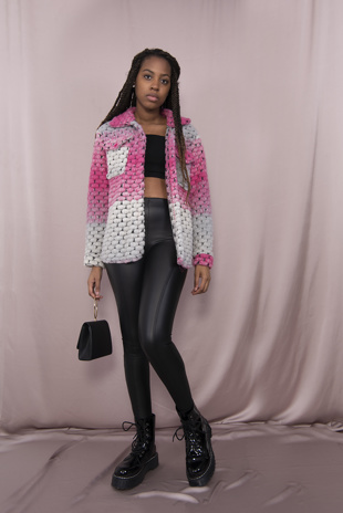Pink Ombre Bubble Shacket