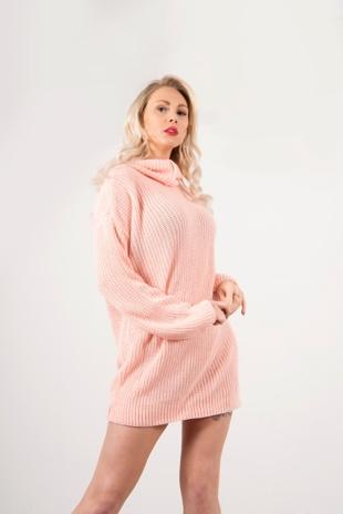 Light Pink Roll Neck Knitted Jumper Dress