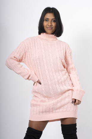Pink Cable Knit Roll Neck Jumper Dress