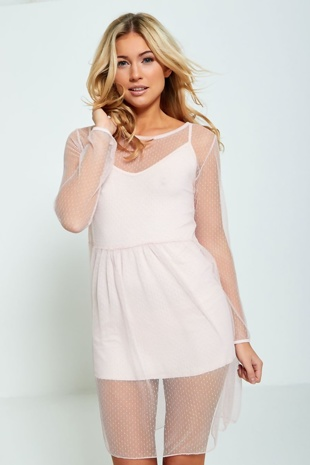 Pink Lace Overlay Mini Dress