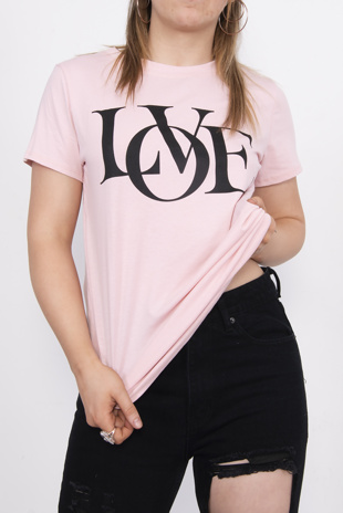 Pink Love Slogan T-Shirt