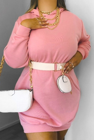 Pink Oversized Baggy Pocket Sweat Hood Dress