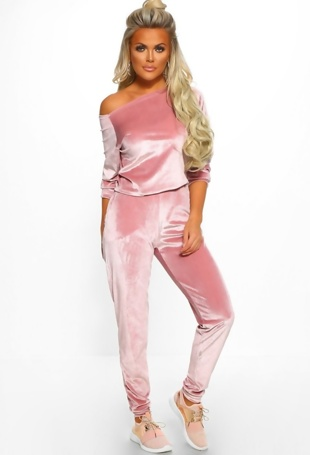 Pink Sassy Velvet Lounge Wear Set