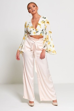 Pink Satin Wide Leg Trouser