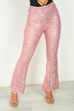 Pink Sequinned Flare Leg Trousers