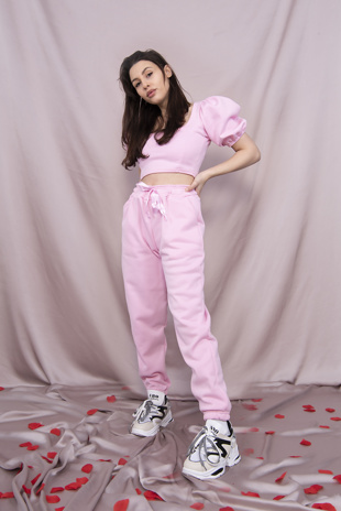 Pink Puff Sleeve Cropped Top And Jogger Set