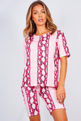 Pink Snake Print T-shirt And Cycling Shorts Set