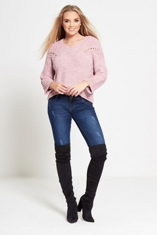 Pink Soft To Touch V Neck Knitted Jumper