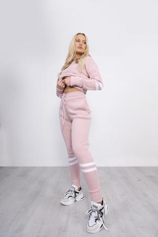 Pink Stripe Knitted Lounge Wear