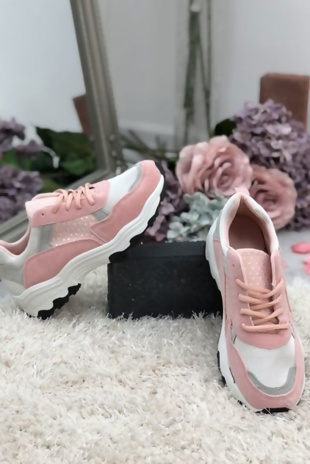 Pink Suede And Mesh Lace Up Trainers