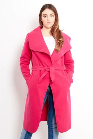 Pink Tie Front Shawl Collar Coat