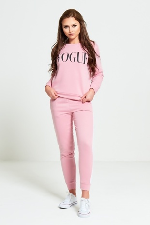 Pink Vogue Print Tracksuit Set