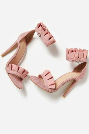 Pink Faux Suede Frill Barely There Heels