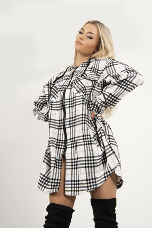 Black Check Hooded Zip Shacket