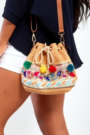 Pom Pom Tan Cross Body Bag