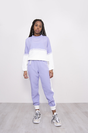 Lilac Two Tone Lace Trim Jogger Loungewear Set