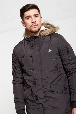 Mens Brave Soul Black Hooded Parka