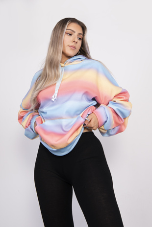 Rainbow Oversized Ruched Sleeve Hoodie