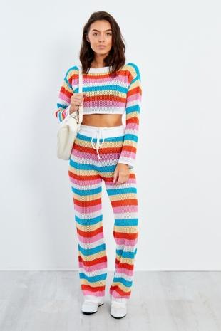 Rainbow Stripe Pattern Crochet Top And Trouser Set
