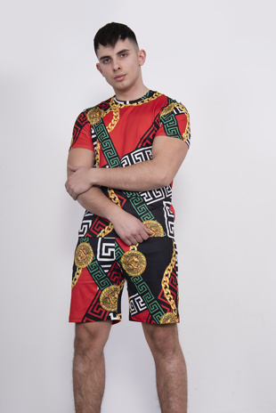 Mens Red Chain T-Shirt And Short Set