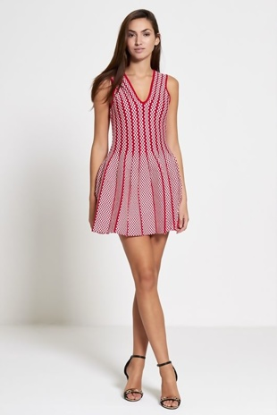 Red Chequered V Skater Mini Dress