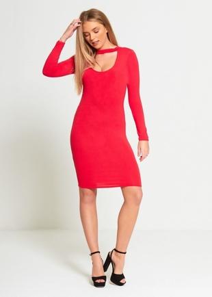 Red Choker Neck Bodycon Dress