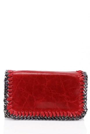 Red Crossbody Metal Frame Leather Bag