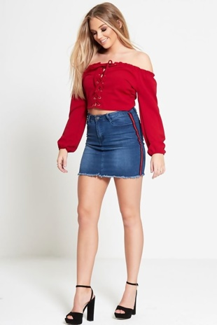 Red Frill Bardot Lace Up Crop Top