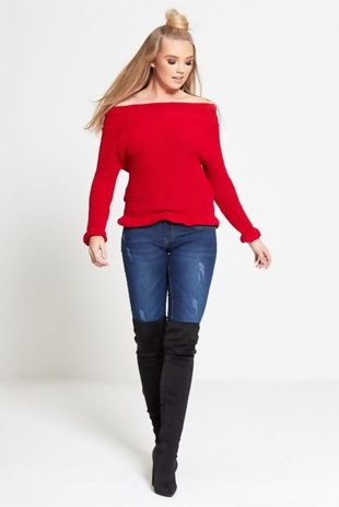 Red Frill Neck Knitted Jumper