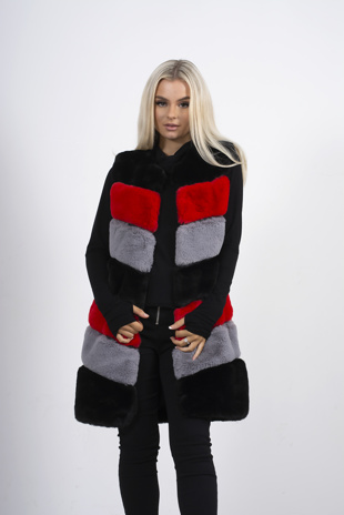 Red and black contrast faux fur longline gilet