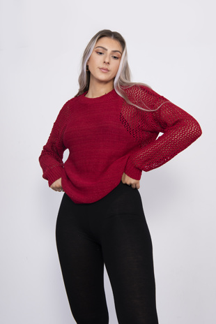 Red Glitter Knitted Detail Jumper