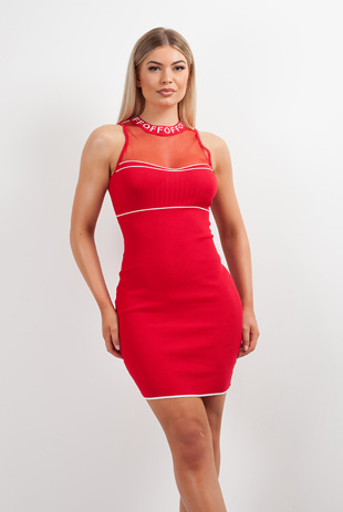 Red Glitter Mesh Chest Bandage Dress
