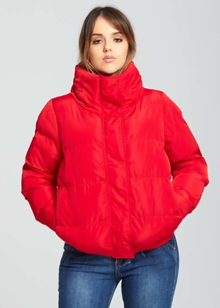 Red High Neck Quilted Puffer Jacket