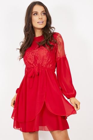 Red Lace Tie Waist Shift Dress