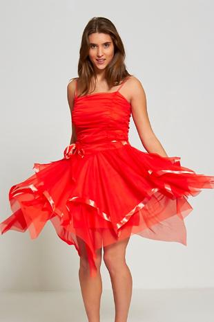 Red Layered Ruffle Prom Dress