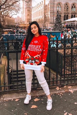 Red Merry Christmas Reindeer Jumper