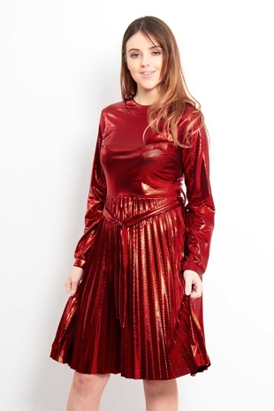 Red Metallic Long sleeved Tie Waist Dress