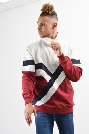 Mens Red Retro Stripes Zip Detail Sweatshirt