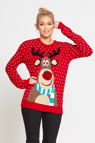 Red Rudolph Christmas Jumper With Pom Pom Detail