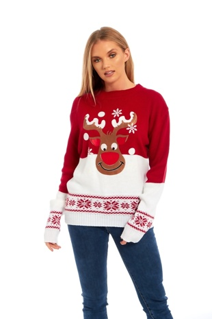 Red Rudolph Snowy Christmas Jumper