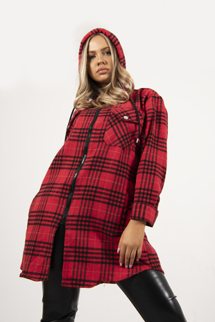 Red And Black Check Hooded Zip Shacket Jacket
