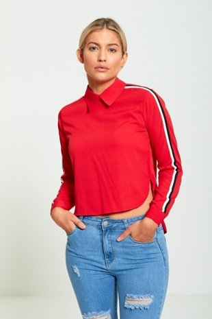 Red Striped Sleeve Cropped Front Blouse