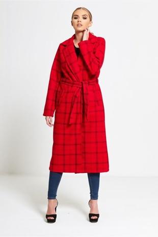 Red Tartan Longline Duster Jacket