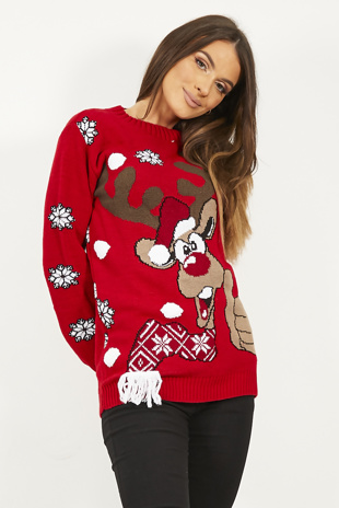 Red Thumbs Up Reindeer Knitted Christmas Jumper